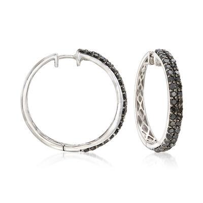 2.00 ct. t.w. Black Diamond Two-Row Hoop Earrings in Sterling Silver, , default