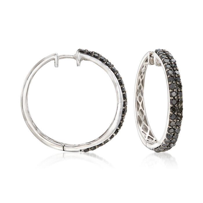 """2.00 ct. t.w. Black Diamond Two-Row Hoop Earrings in Sterling Silver. 1"""""""