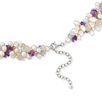 4-6.5mm Cultured Pearl and Multi-Stone Torsade Necklace with Sterling Silver. 18""