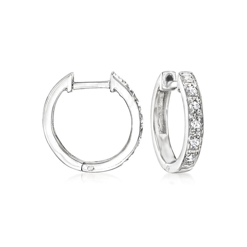 "7e8792803 Diamond-Accented Huggie Hoop Earrings in Sterling Silver. 3/8"", ,"