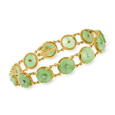 C. 1980 Vintage Jade and .12 ct. t.w. Diamond Bracelet in 14kt Yellow Gold