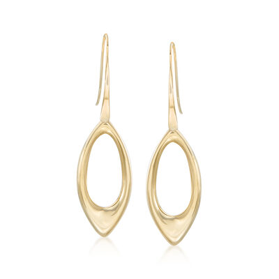 14kt Yellow Gold Open Marquise Drop Earrings, , default