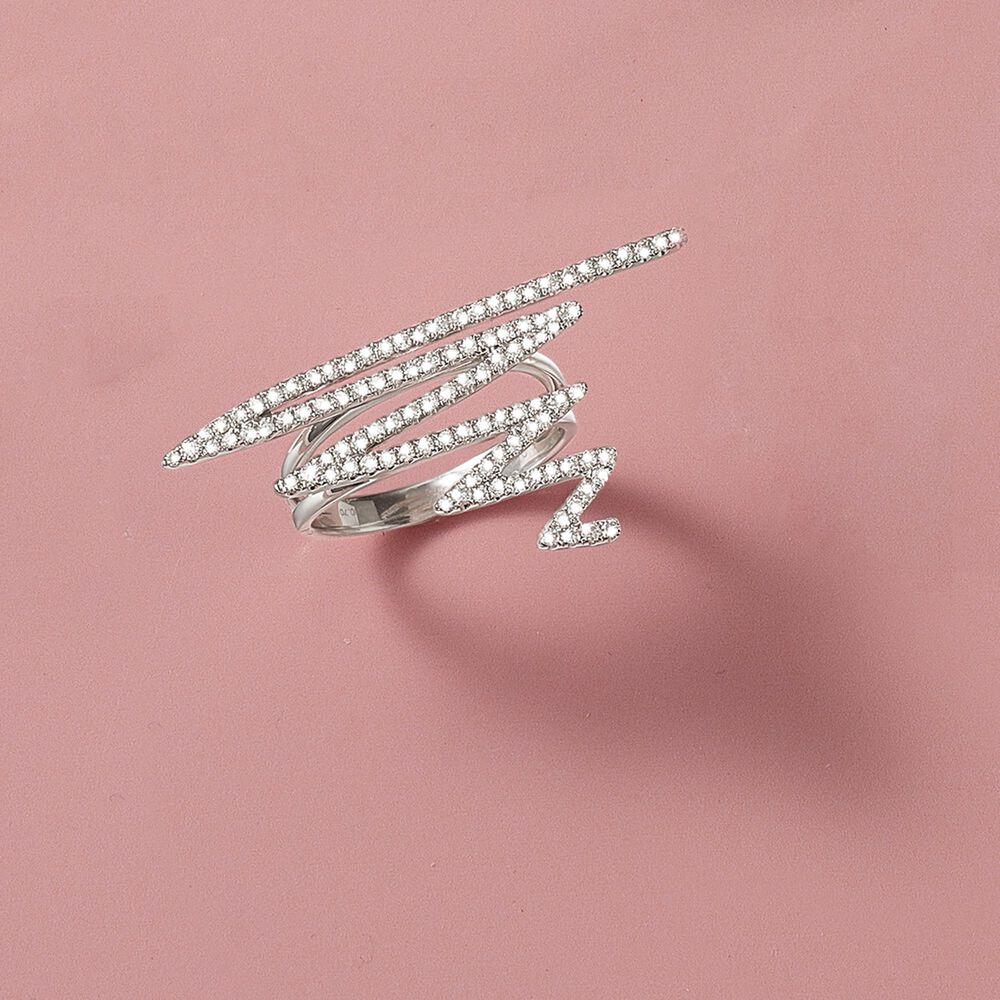 70 ct. t.w. Diamond Zigzag Ring in 18kt White Gold | Ross Simons
