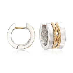 "Andrea Candela ""El Corse"" Sterling Silver and 18kt Yellow Gold Huggie Hoop Earrings, , default"