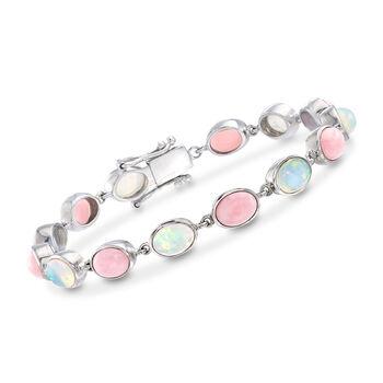 Pink and White Ethiopian Opal Link Bracelet in Sterling Silver , , default