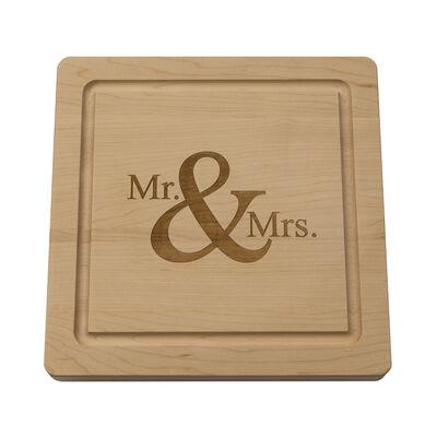 """Mr. & Mrs."" Maple Wood Cutting Board, , default"