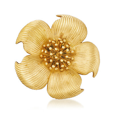 C. 1980 Vintage Tiffany Jewelry 18kt Yellow Gold Flower Pin, , default