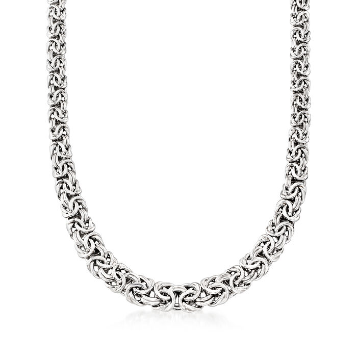 Byzantine Necklace in Sterling Silver with Magnetic Clasp. 16""