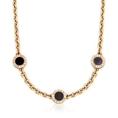 C. 1990 Vintage Bulgari Black Onyx 18kt Yellow Gold Necklace, , default
