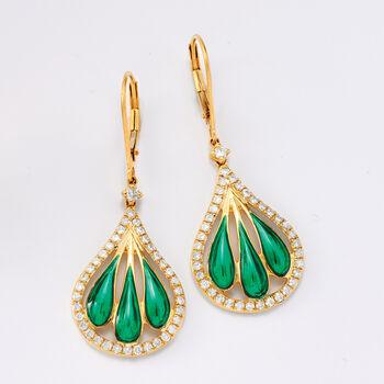 .90 ct. t.w. Diamond and Green Enamel Fan Drop Earrings in 14kt Yellow Gold