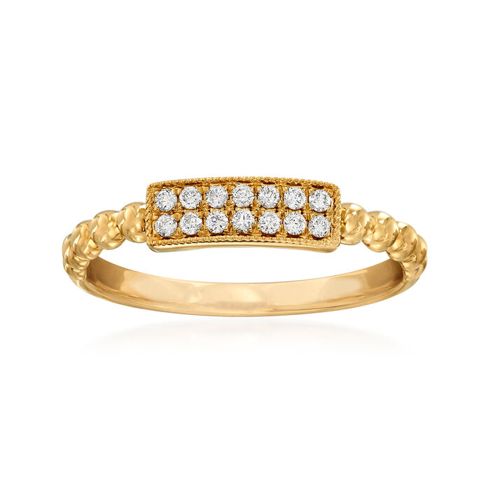 .12 ct. t.w. Diamond Two-Row Milgrain and Beaded Ring in 14kt Yellow Gold