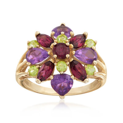 C. 1990 2.55 ct. t.w. Vintage Multi-Stone Ring in 10kt Yellow Gold, , default