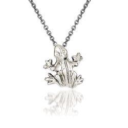 """14kt White Gold Frog Pendant Necklace. 18"""", , default"""