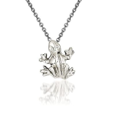 14kt White Gold Frog Pendant Necklace, , default