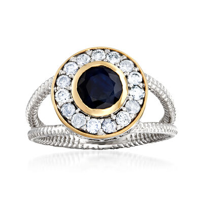 1.00 Carat Sapphire and .50 ct. t.w. Diamond Ring in Sterling Silver with 14kt Yellow Gold