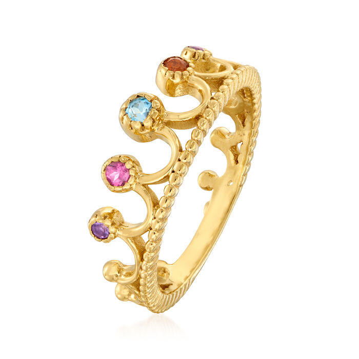 .20 ct. t.w. Multi-Gemstone Crown Ring in 18kt Gold Over Sterling