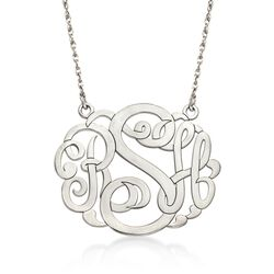 "Sterling Silver Large Open Script Monogram Necklace. 18"", , default"