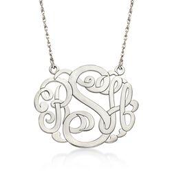 Sterling Silver Large Open Script Monogram Necklace, , default