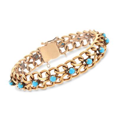C. 1950 Vintage 18kt Yellow Gold and Turquoise Bracelet, , default