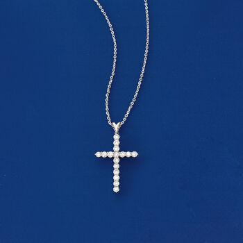 1.00 ct. t.w. Diamond Cross Pendant Necklace in Platinum, , default