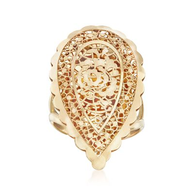 Italian 18kt Yellow Gold Openwork Floral Teardrop Ring, , default
