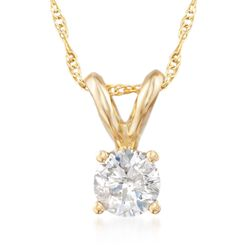 ".33 Carat Diamond Solitaire Necklace in 14kt Yellow Gold. 18"", , default"