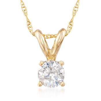 """.33 Carat Diamond Solitaire Necklace in 14kt Yellow Gold. 18"""", , default"""