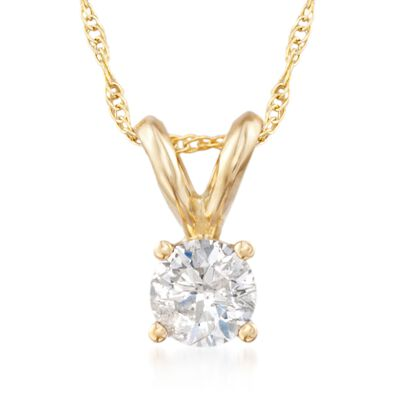 .33 Carat Diamond Solitaire Necklace in 14kt Yellow Gold, , default