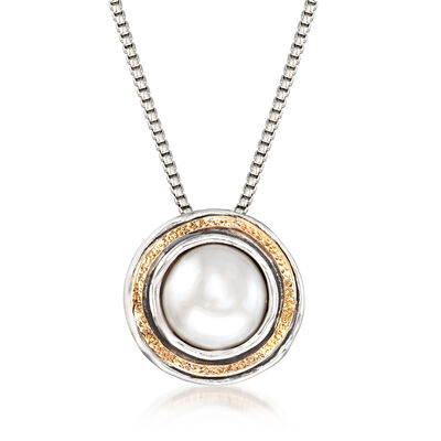 10-10.5mm Cultured Pearl Pendant Necklace in Sterling Silver with 14kt Yellow Gold