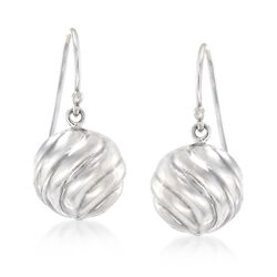 Sterling Silver Swirled Bead Drop Earrings , , default