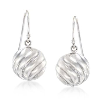 Sterling Silver Swirled Bead Drop Earrings , , default