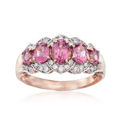 1.90 ct. t.w. Pink Rhodolite and .20 ct. t.w. Diamond Ring in 14kt Rose Gold, , default