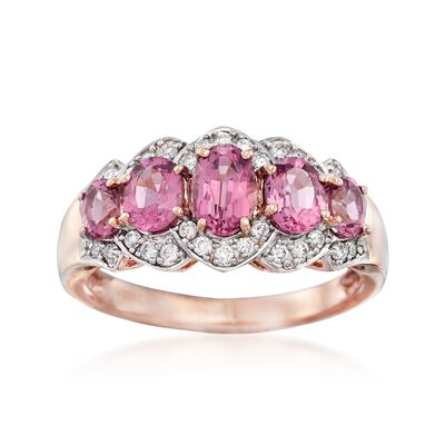 1.90 ct. t.w. Pink Rhodolite Garnet and .20 ct. t.w. Diamond Ring in 14kt Rose Gold, , default
