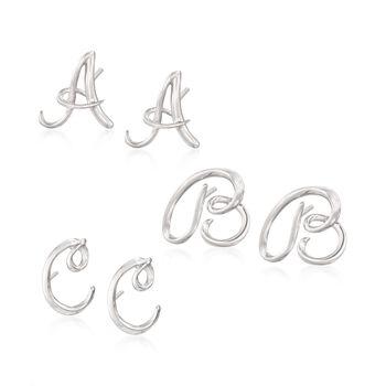 Sterling Silver Mini Script Initial Earrings, , default