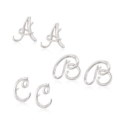 Sterling Silver Mini Script Initial Earrings, , default