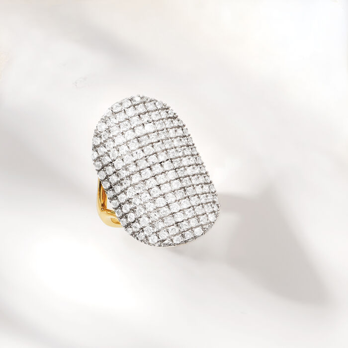 2.00 ct. t.w. Pave Diamond Oval Ring in Two-Tone Sterling Silver