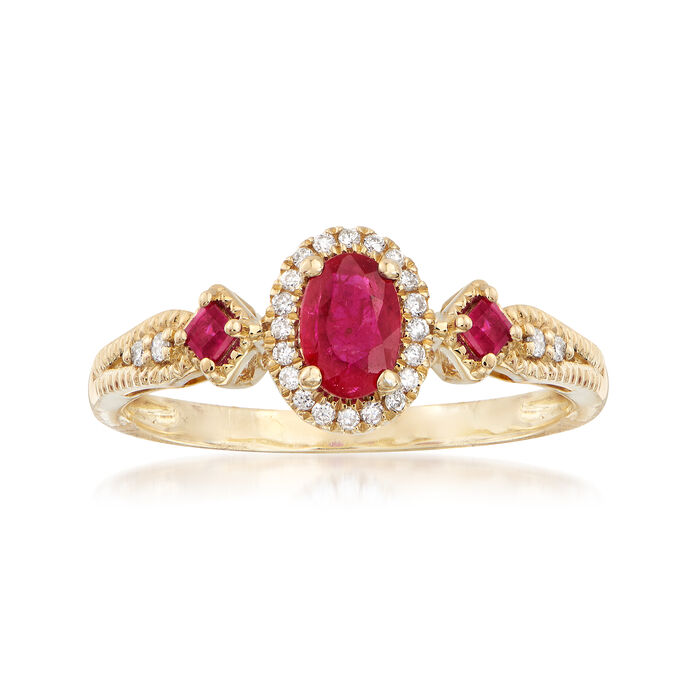 .60 ct. t.w. Ruby and .11 ct. t.w. Diamond Halo Ring in 14kt Yellow Gold