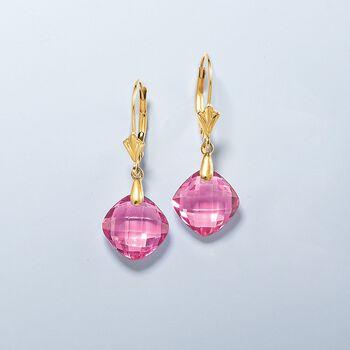 8.00 ct. t.w. Pink Topaz Drop Earrings in 14kt Yellow Gold, , default