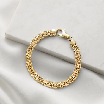 18kt Gold Over Sterling Silver Small Byzantine Bracelet, , default