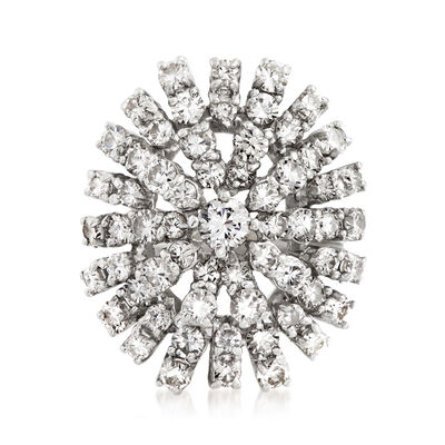 C. 1970 Vintage 2.35 ct. t.w. Diamond Cluster Ring in 18kt White Gold, , default