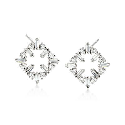 .80 ct. t.w. Round and Baguette CZ Open Square Earrings in Sterling Silver, , default