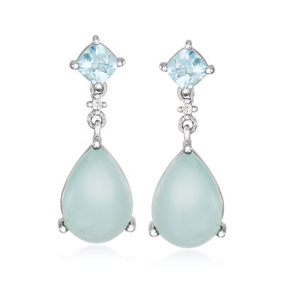 13.90 ct. t.w. Aquamarine Drop Earrings with Diamond Accents in Sterling Silver