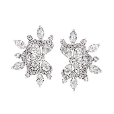3.11 ct. t.w. Diamond Fan Earrings in 18kt White Gold