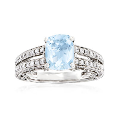 C. 1990 Vintage 1.45 Carat Aquamarine and .89 ct. t.w. Diamond Ring in 14kt White Gold