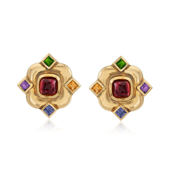 C. 1980 Vintage 10.20 ct. t.w. Multicolored Earrings in 18kt Yellow Gold