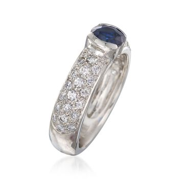 C. 1990 Vintage .60 Carat Sapphire and .60 ct. t.w. Diamond Ring in Platinum. Size 4, , default