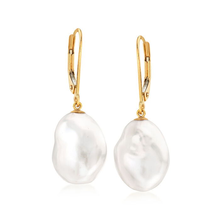 11-12mm Cultured Keshi Baroque Pearl Drop Earrings in 14kt Yellow Gold