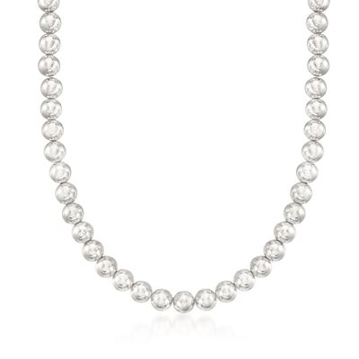 Italian 8mm Sterling Silver Bead Necklace, , default
