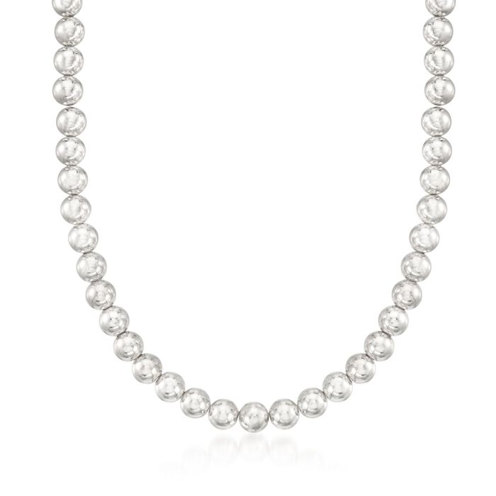 """Italian 8mm Sterling Silver Bead Necklace. 18"""", , default"""