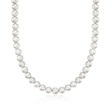 """8mm Sterling Silver Bead Necklace With Free Stud Earrings. 18"""", , default"""